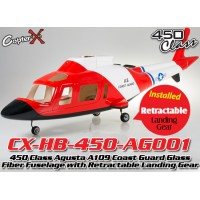 CopterX (CX-HB-450-AG001) 450 Class Agusta A109 Coast Guard Glass Fiber Fuselage with Retractable Landing Gear (Red Black with White Stripe)