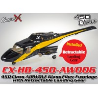 CopterX (CX-HB-450-AW006) 450 Class AIRWOLF Glass Fiber Fuselage with Retractable Landing Gear (Black White with Yellow Stripe)